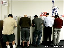 American voters in San Diego cast their ballots
