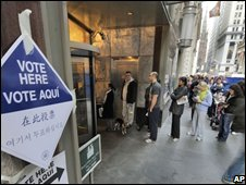 Polling station on Wall Street