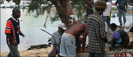 Fisherman on Ocho Rios beach, Jamaica