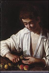 Niño pelando frutas
