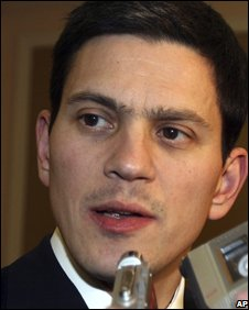 British Foreign Secretary David Miliband talks to reporters on arrival in Damascus