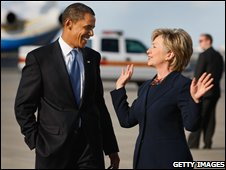 Barack Obama and Hillary Clinton chat during the election campaign, Ocotober 2008