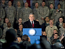 George Bush addresses US troops at Bagram air base, Afghanistan (15 December 2008)