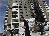 Edificio destruido en la Ciudad de Gaza