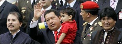 Daniel Ortega, Hugo Chávez y Evo Morales