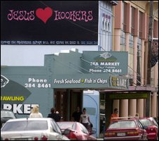 Billboard in favour of decriminalisation of prostitution, Wellington, May 2003.  Courtesy of the Dominion Post newspaper.