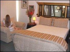 Bedroom at Bon Ton, a Wellington brothel.