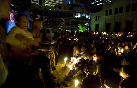 Concert in Auckland Civic Square, New Zealand - photo Earth Hour