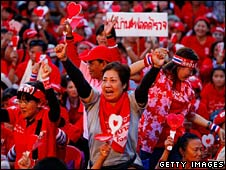 Red-shirt protesters in Bangkok on 12 April 2009