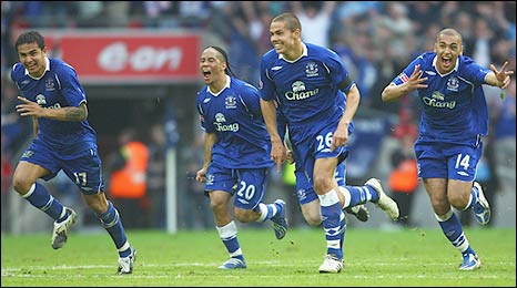 Relief and joy floods through my body and theirs as Jagielka nets the winner.