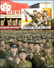 "North Korean soldiers at a mass rally to celebrate the country""s first nuclear test in 2006"