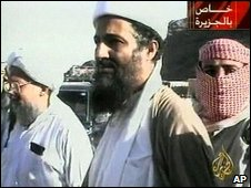 Osama Bin Laden (centre) with Ayman al Zawahiri (left) in an image broadcast by al-Jazeera in October 2001
