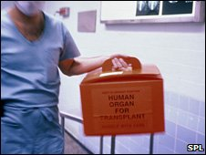 Organ transplant container