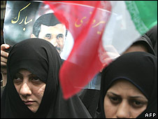 Ahmadinejad supporters demonstrate outside the British embassy in Tehran on 15/6/09