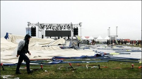 Collapsed tent in Trencin on July 18