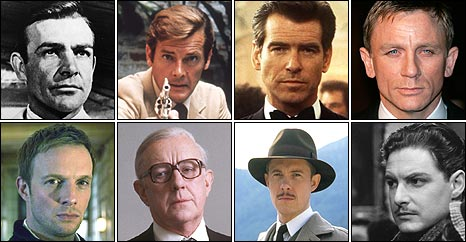 Sean Connery, Roger Moore, Pierce Brosnan and Daniel Craig as James Bond. Rupert Penry-Jones in Spooks, Sir Alec Guinness as George Smiley, Alex Jennings as John Ashenden and Robert Donat as Richard Hannay
