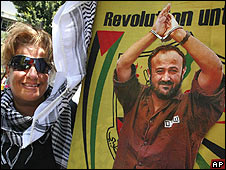 Woman with poster of Marwan Barghouti, Lebanon (03.07.09)