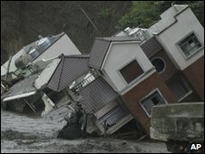 Homes damaged in Tainan county, southern Taiwan, on 11 August 2009
