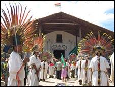 Local indigenous people outside a church in San Ignacio de Moxos