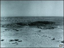 In a file photo from 1974, a crater is shown in the Thar desert area southwest of New Delhi where India conducted an underground nuclear test. India successfully tested three devices in the same area on Monday May 11,1998. (AP Photo/HO)