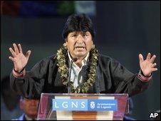 Evo Morales speaks in Leganes