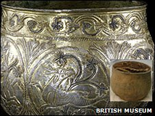 Silver-gilt vessel from the Vale of York Hoard. Inset: before cleaning. Photo: British Museum.