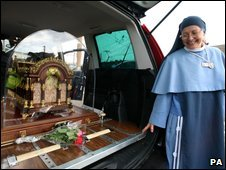 The casket of St Therese of Lisieux's bones