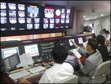 Control room from where church services are broadcast