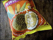 Packet of durian-flavoured popcorn