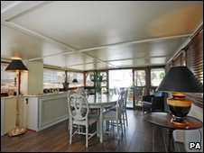 Dining room in houseboat