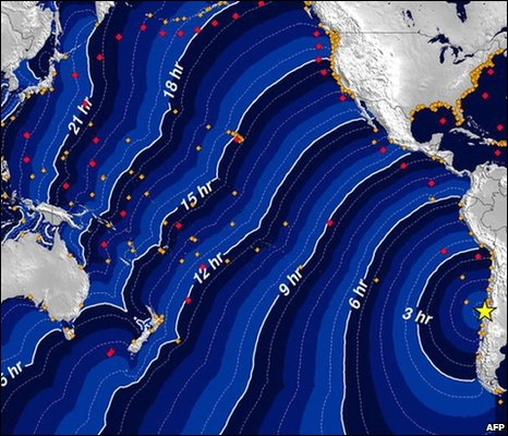 Tsunami travel times, National Atmospheric and Oceanic  Administration