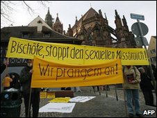 Protesters in the southern German city of Freiburg, 22 February  2010