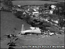 Aerial scene of Llandow air disaster close to Sigginstone village, Vale of Glamorgan, in 1950