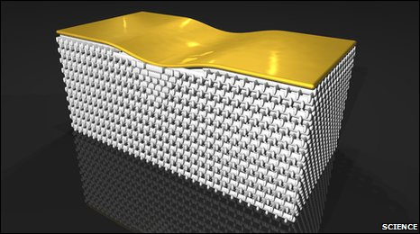 """The """"nanostructure"""" of tiny rods bends light around a bump in the gold surface"""