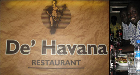 Havana club sign (left) and Cuban-Jubans at the club (right)