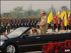 Gen Shwe reviews the troops