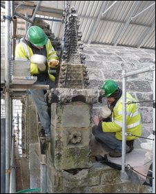 The pinnacle concealing a hidden hive being removed