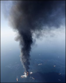 Deepwater Horizon oil rig on fire off Louisiana on 21 April 2010