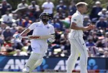 टीम इंडिया ने 63 ओवर खेलकर, 242 रन पर ऑल आउट, जैमीसन ने भारतीय बल्लेबाजों पर बरपाया कहर.