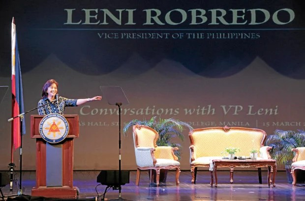 Vice President Leni Robredo delivers a speech at the St. Scholastica's College Manila on Wednesday, March 15, 2017 in observance of International Women's Month. INQUIRER PHOTO / GRIG C. MONTEGRANDE