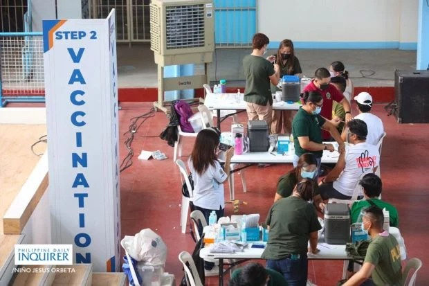 Health workers and frontliners receive their 2nd dose of the Sinovac vaccine against COVID-19 held at Marikina Elementary School