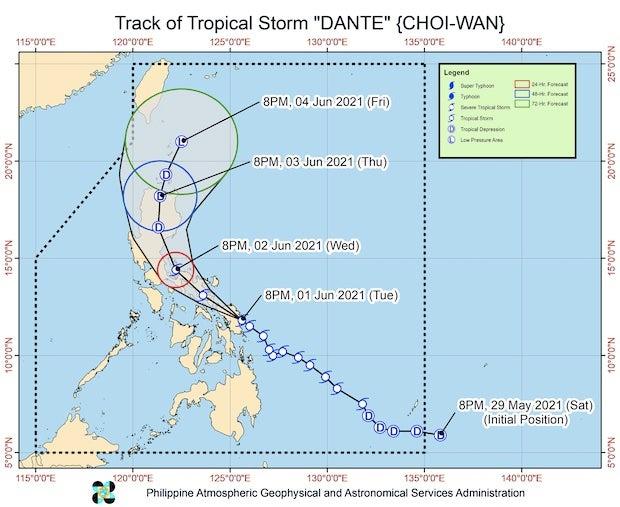 Tropical Storm Dante map