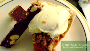 Deep Dish Pumpkin Pie, Coconut Whipped Vanilla Cream Famous chilled Almond Fudge Fingers