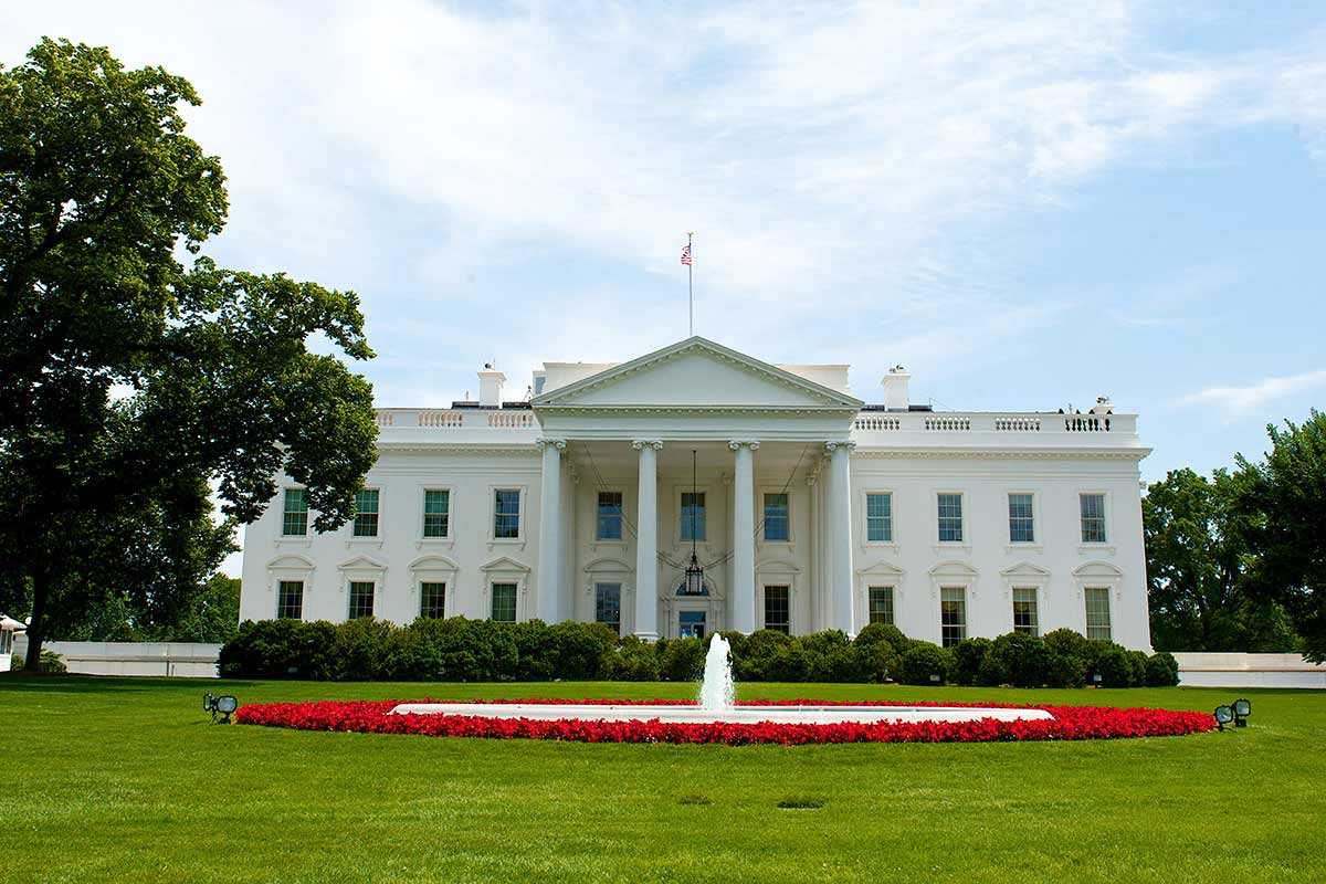 Building Of The White House In Washington Dc