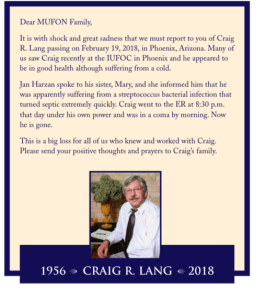 UPDATED ARTICLE! Fiancée: Exopolitics/UFO investigator Craig R. Lang was targeted & murdered at the February 2018 International UFO Congress using exotic weapons to stop his disclosure investigations