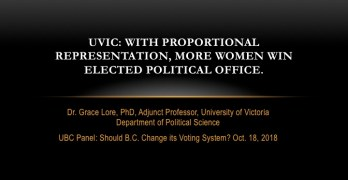 UVIC: With Proportional Representation, more women win elected political office.