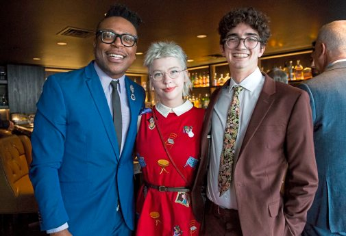 From left to right, Gregory Bohanon, Emily Ashenden, and Mead Ryder pose for a portrait at Mark Flaherty and Mary McKinney's wedding on Sunday, Oct. 23, 2017 at Monterey Bay Fish Grotto in Mount Washington. (Antonella Crescimbeni/Post-Gazette).