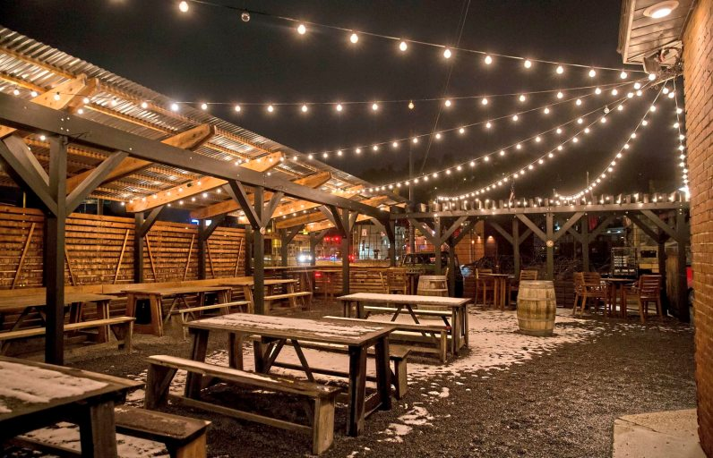 The outside patio of the Draai Laag Brewing Co., which in March is being rebranded as Strange Roots Experimental Ales. (Antonella Crescimbeni/Post-Gazette)
