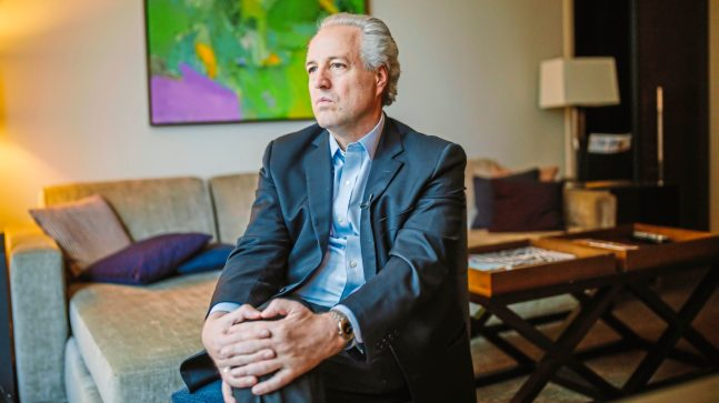 Manfred Honeck during an interview in his room at the Fairmont Pittsburgh. (Andrew Rush/Post-Gazette)