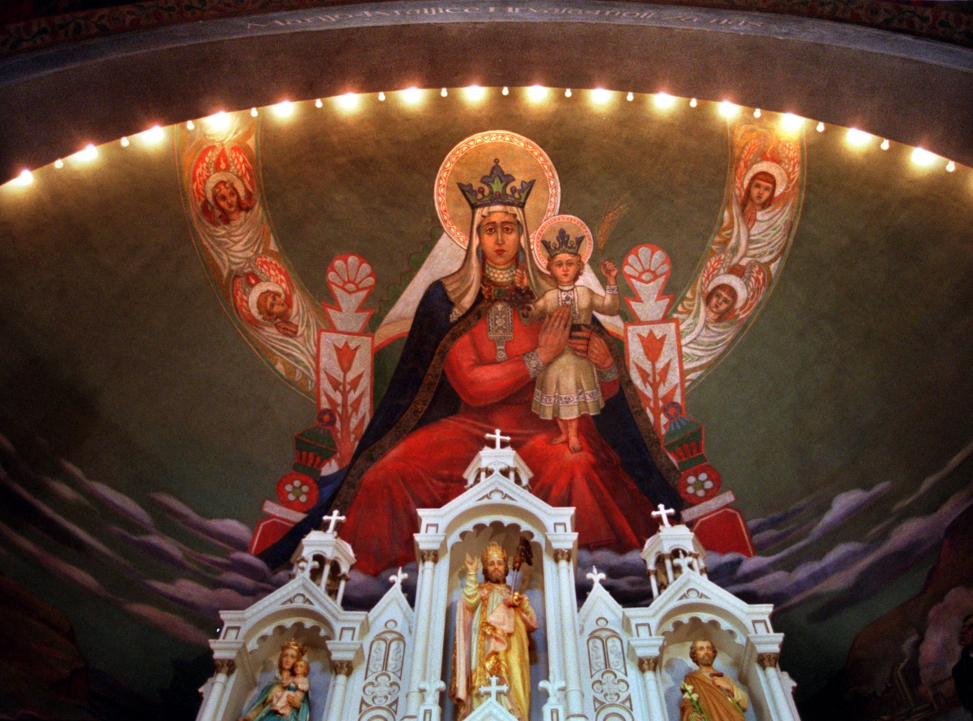 Mary, Queen of Croatians, above the altar at St. Nicholas Croatian Church in Millvale done by Croatian artist Maxo Vanka in 1937. (Martha Rial/Post-Gazette)